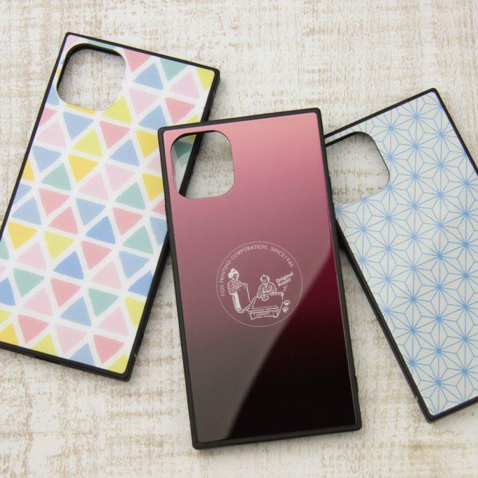 スクエア型 強化ガラス製iPhoneケース印刷